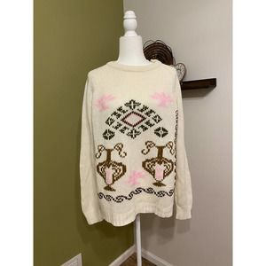 Vintage pink & white pattern knit sweater | M
